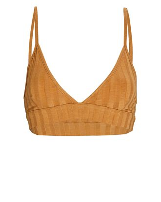 Rikki Rib Knit Triangle Bralette, LIGHT BROWN, hi-res
