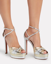 La Di Da Plateau Leather Sandals, SILVER, hi-res
