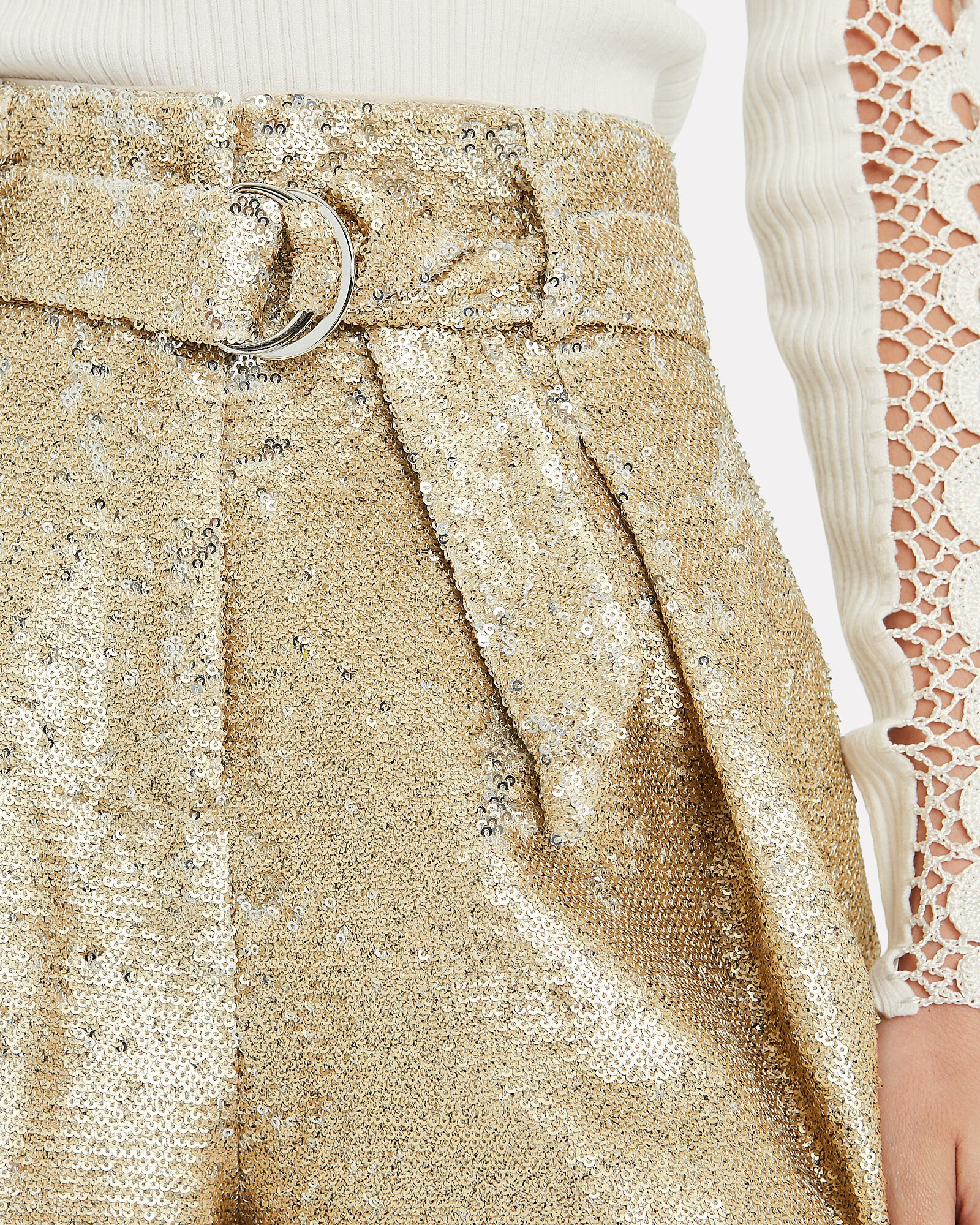 High-Rise Tailored Sequin Shorts, GOLD, hi-res