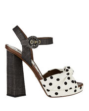 Polka Dot High Heel Sandals, PRINT, hi-res