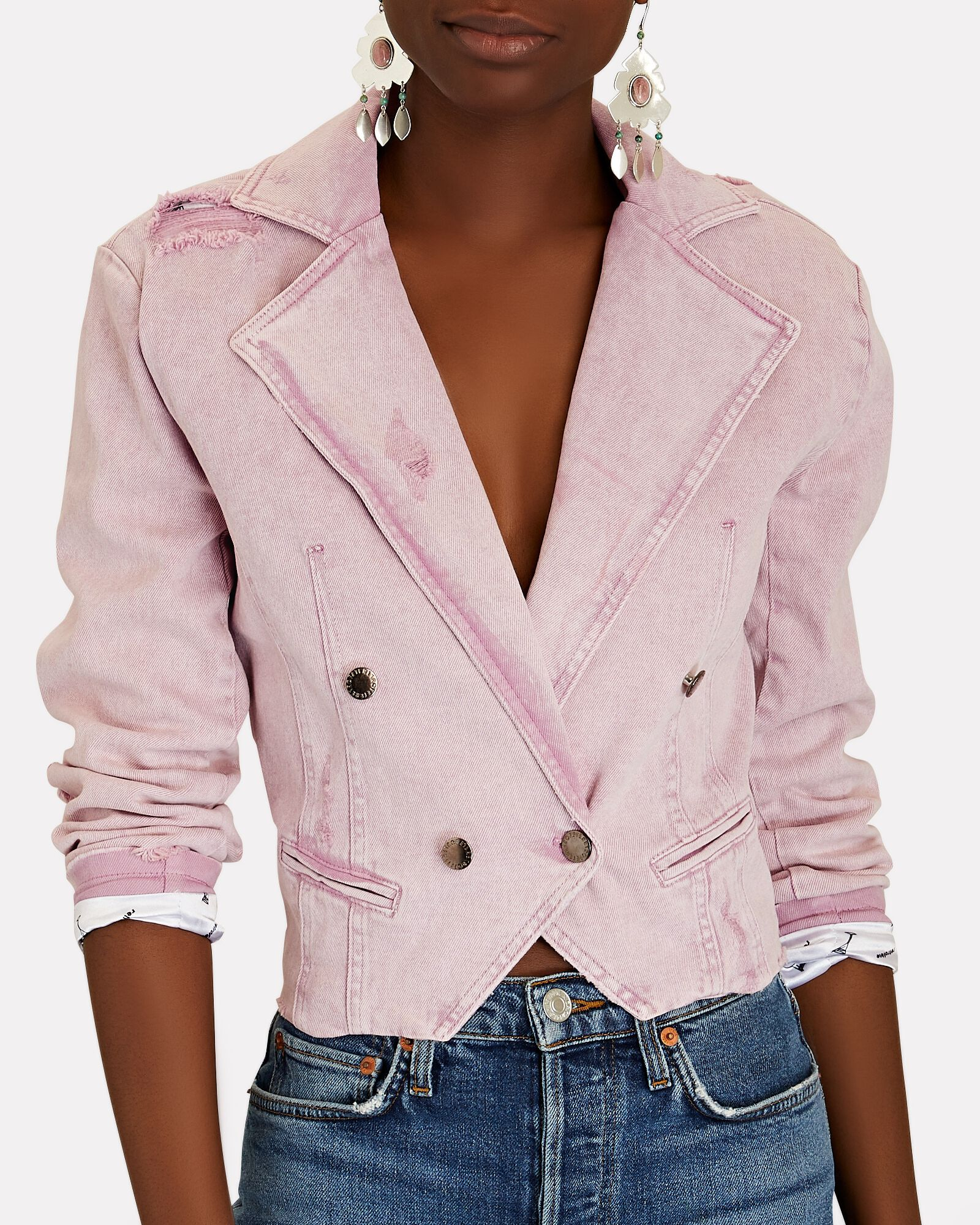 Vivienne Double-Breasted Denim Blazer, FADED LILAC, hi-res