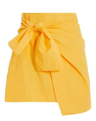 Knotted Wrap Mini Skirt, YELLOW, hi-res