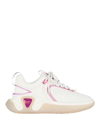 B-Runner Leather Sneakers, WHITE, hi-res