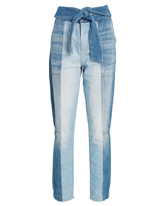 Paisley Tie-Waist Straight-Leg Jeans, LIGHT WASH DENIM, hi-res