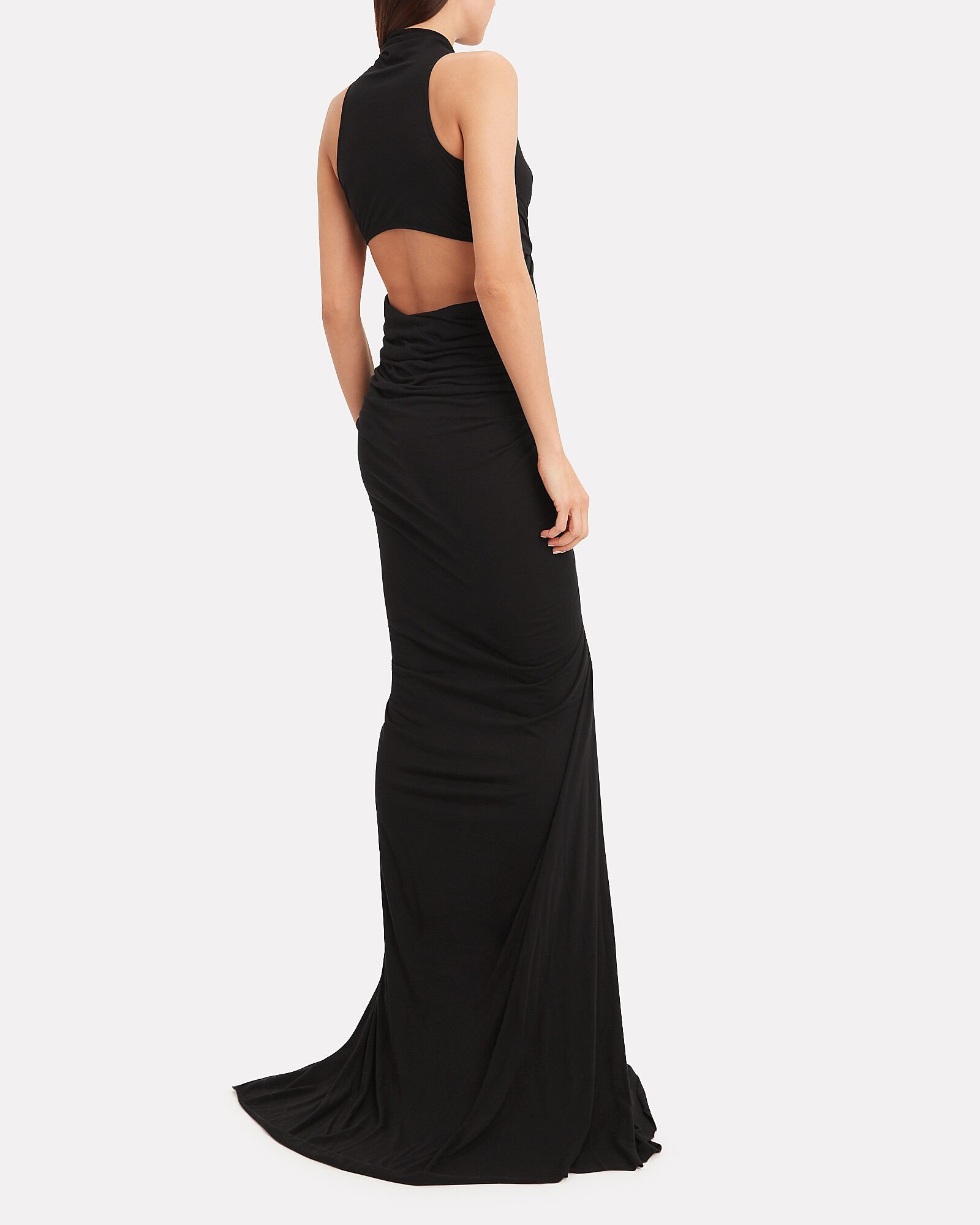 Sleeveless Ruched Jersey Gown, BLACK, hi-res