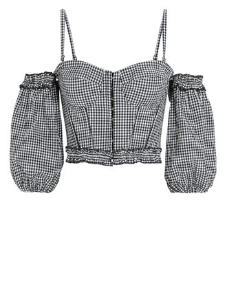 Puff Sleeve Gingham Bustier Top, BLACK/WHITE GINGHAM, hi-res