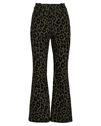 Corinna Flared Leopard Pants, OLIVE/ARMY, hi-res