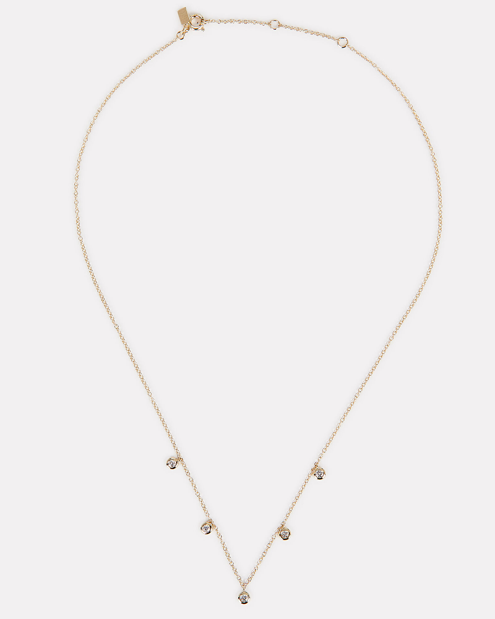 Five Diamond Bezel Choker, GOLD, hi-res