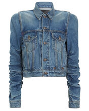 Kelsey Shirred Denim Jacket, JASPER, hi-res