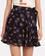 Floral-Printed Georgette Skirt, BLACK FLORAL, hi-res