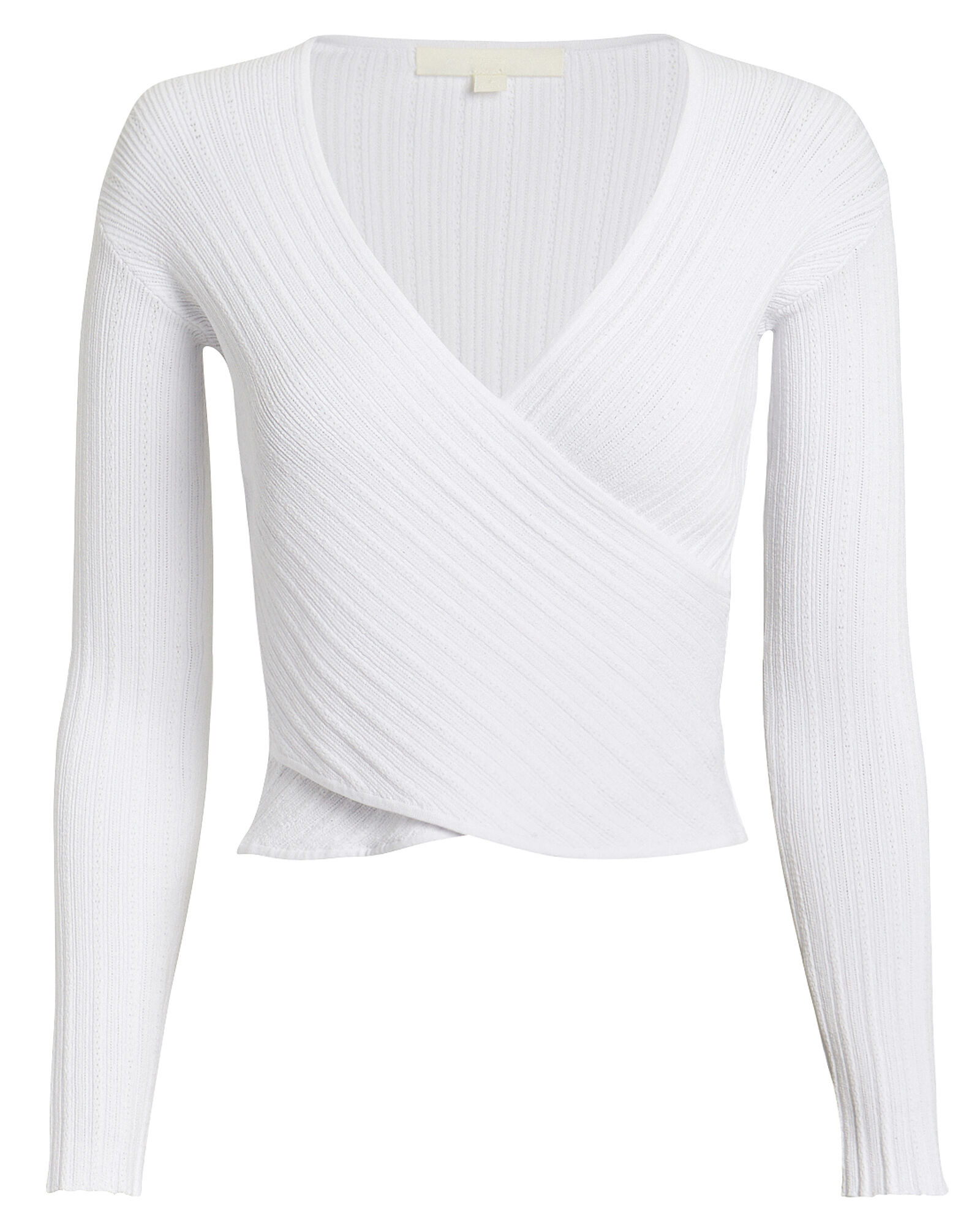 Ribbed Cross Front Top, WHITE, hi-res