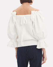 Off Shoulder Puff Sleeve Sweater, WHITE, hi-res
