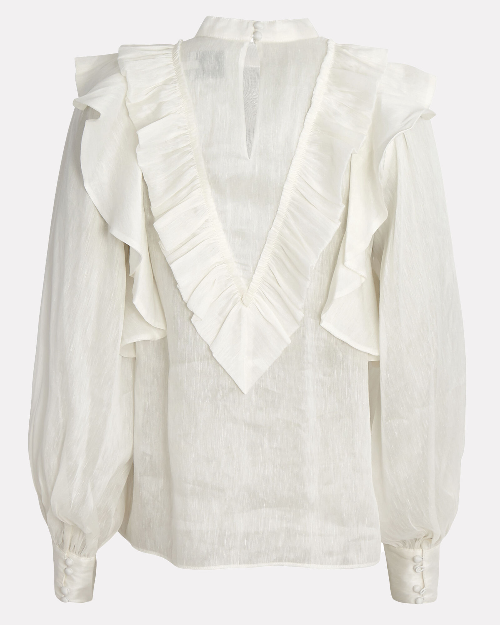 Liberation Frill Silk-Linen Blouse, IVORY, hi-res