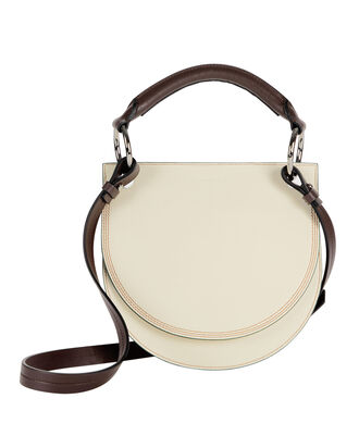 Flap White Leather Crossbody Bag, WHITE, hi-res