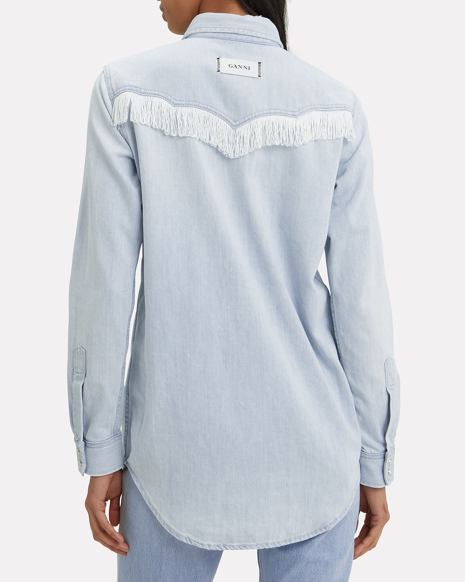Fringe Denim Shirt, LIGHT WASH DENIM, hi-res