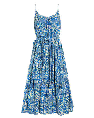 Lea Cotton Midi Dress, BLUE/FLORAL, hi-res