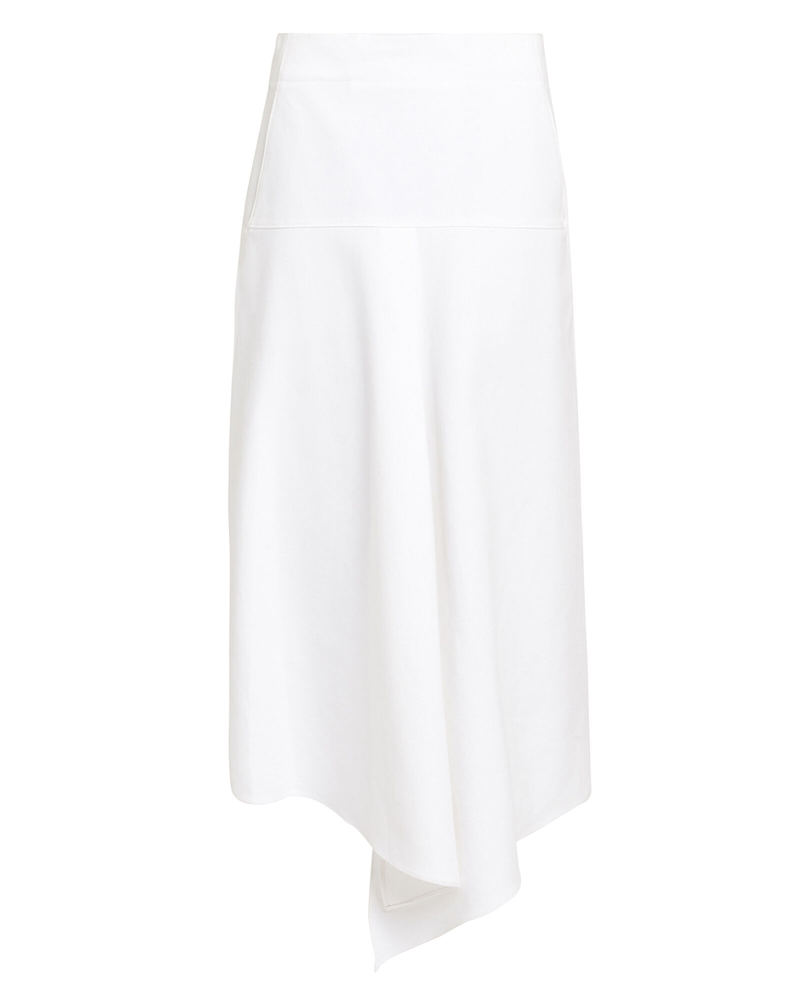 Compact Cotton Asymmetrical Skirt, WHITE, hi-res