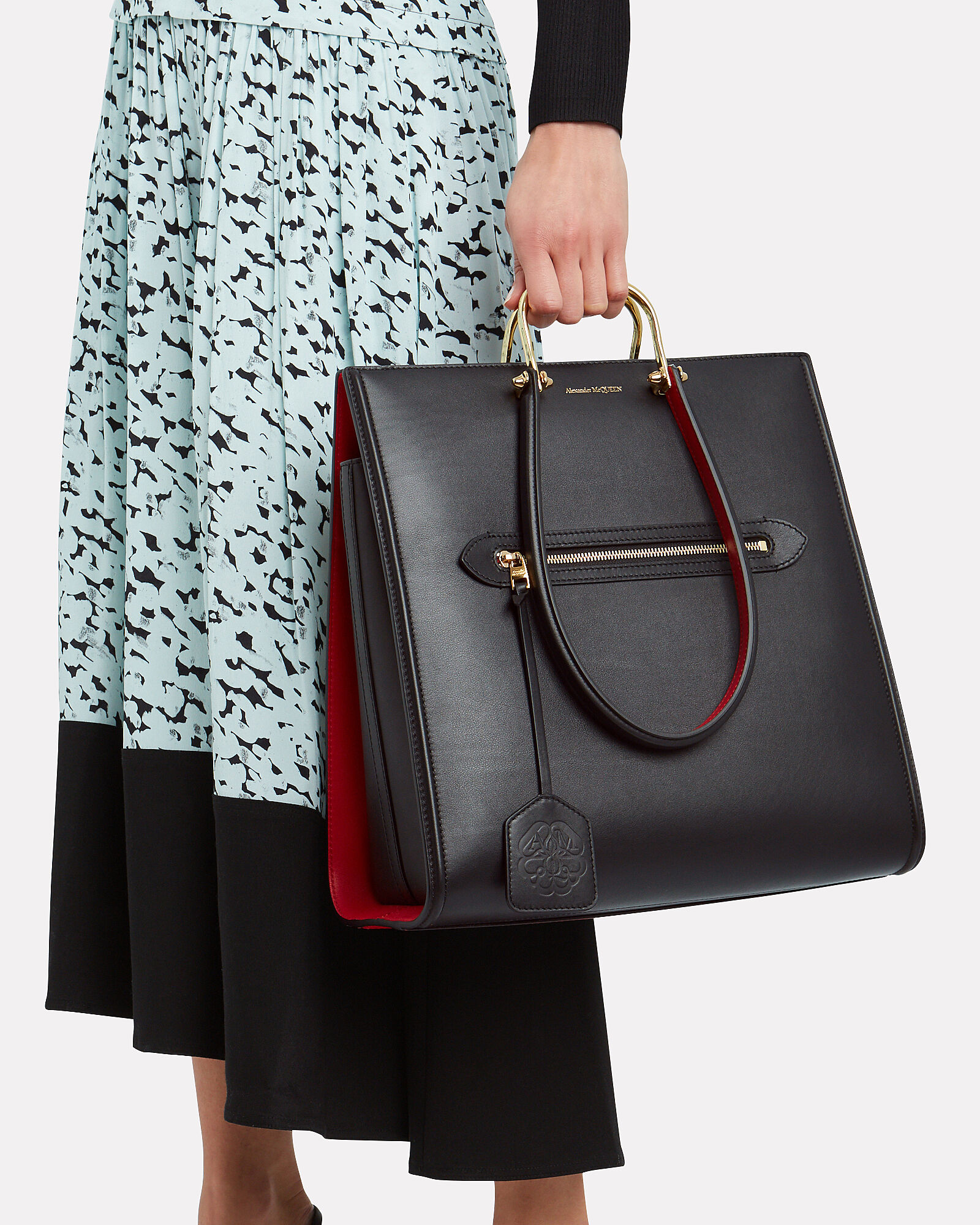 The Tall Story Leather Tote, BLACK/RED, hi-res