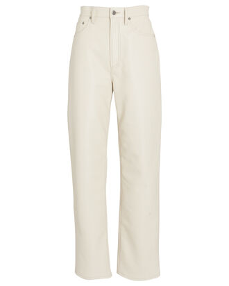 Fitted 90s Recycled Leather Pants, IVORY, hi-res