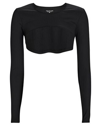 Rib Knit Active Shrug, BLACK, hi-res