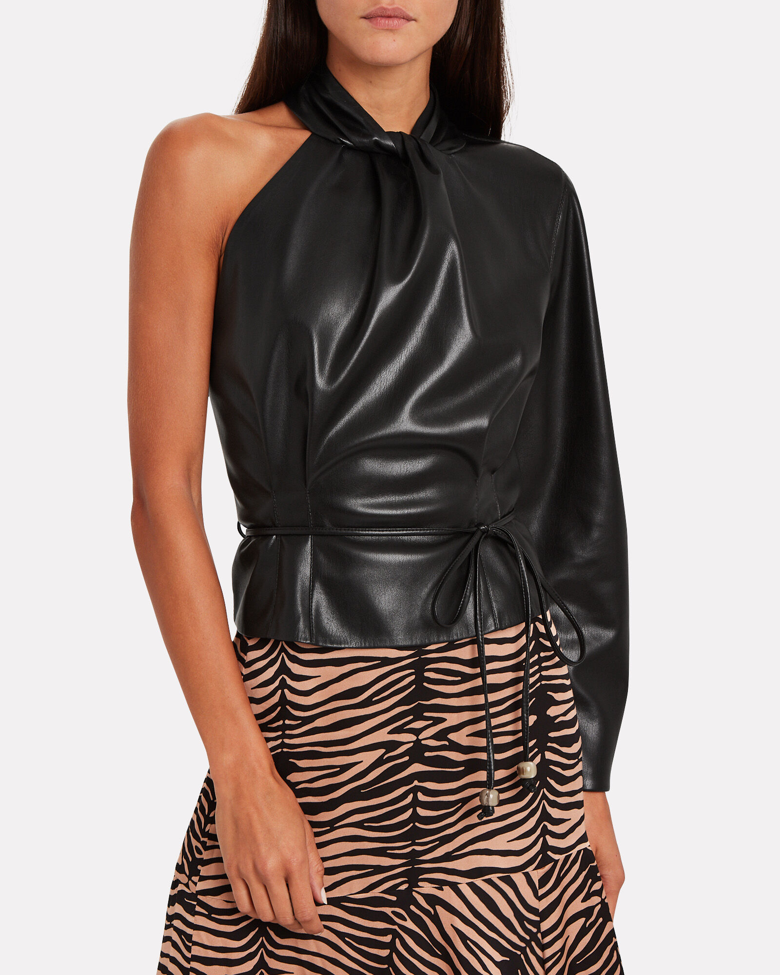 Elodia Vegan Leather One-Shoulder Top, BLACK, hi-res