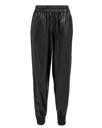 Faux Leather Jogging Pants, BLACK, hi-res