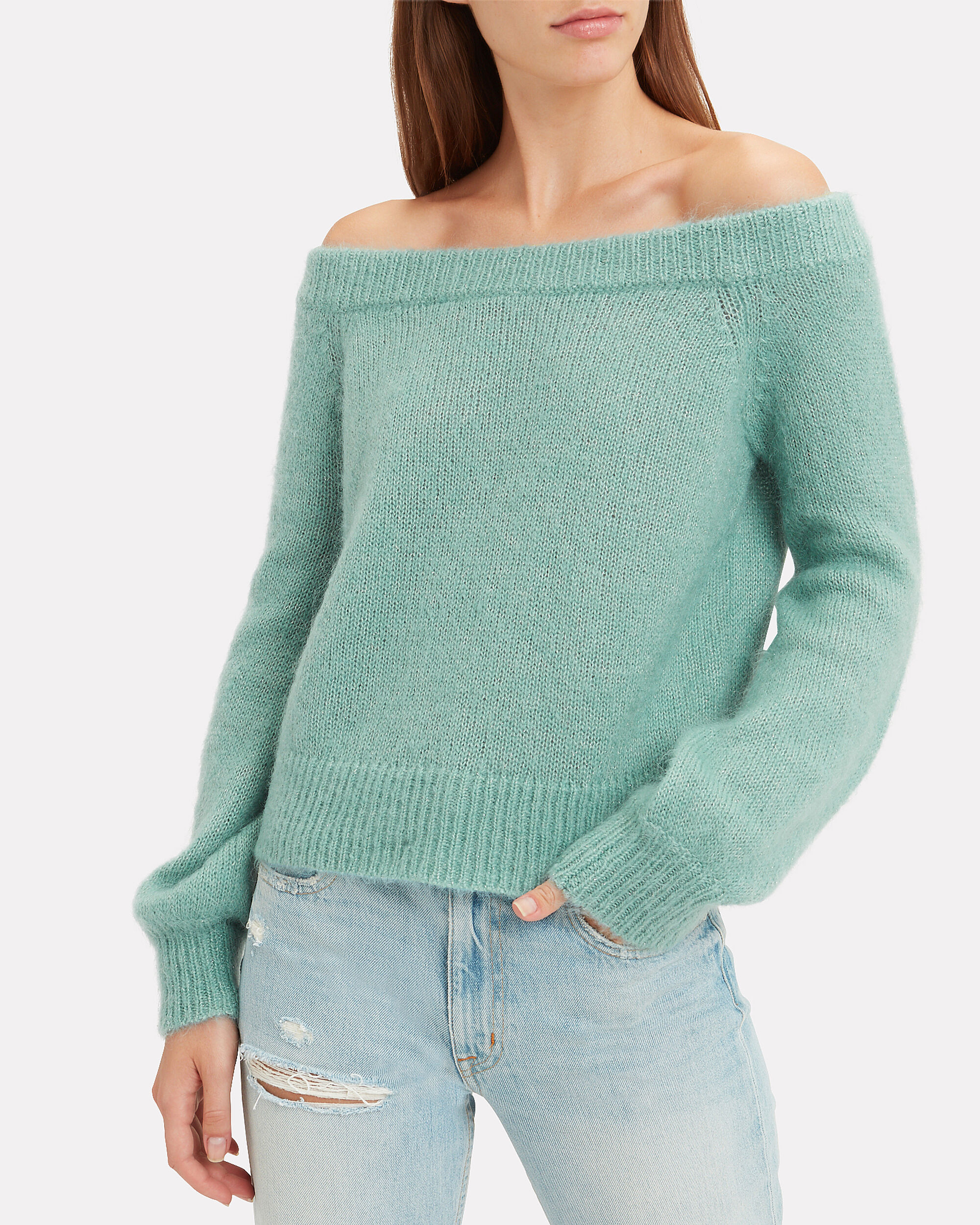 Adelina Off Shoulder Sweater, GREEN, hi-res