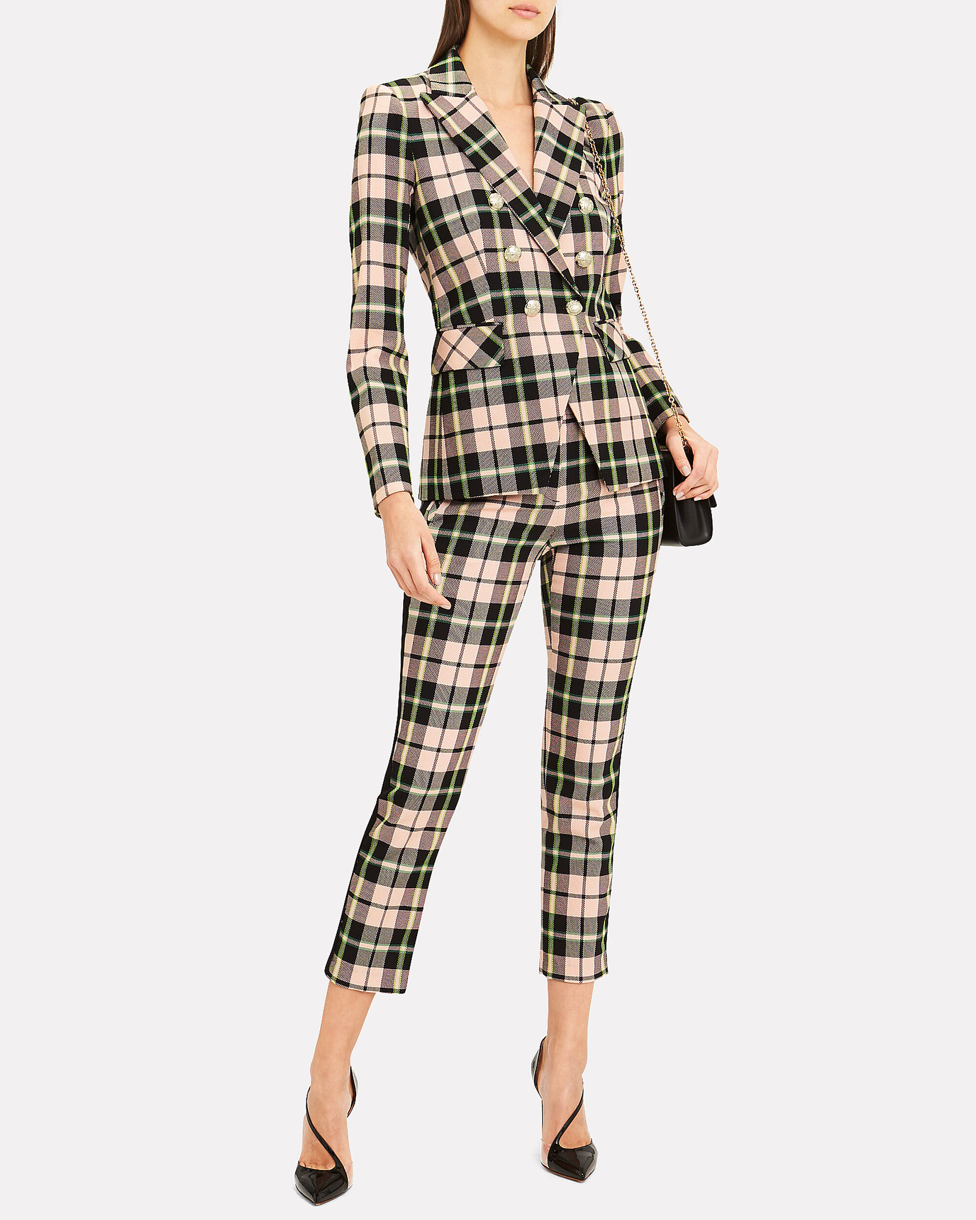 Miller Double-Breasted Blazer, PINK PLAID, hi-res