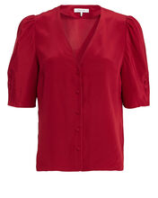 Olivia Silk Button Down Blouse, RED-DRK, hi-res