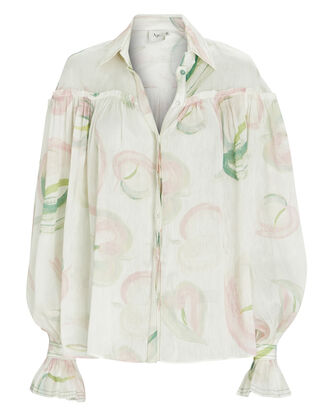 Imprint Floral Button-Down Blouse, MULTI, hi-res