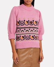 Hand Knit Wool Puff Sleeve Sweater, PINK, hi-res