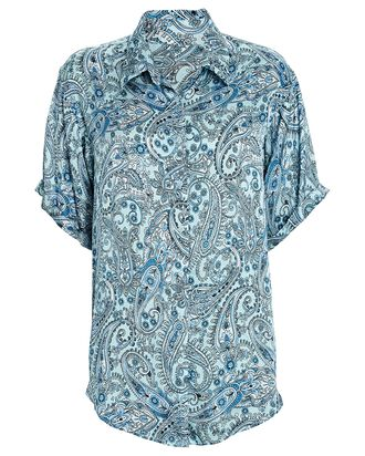 Fifi Paisley Silk Button-Down Shirt, BLUE, hi-res