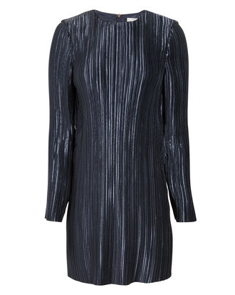 Pleated Navy Mini Dress, NAVY, hi-res