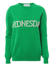 Wednesday Wool-Cashmere Crewneck Sweater, GREEN, hi-res