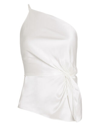 Silk Charmeuse Twisted Top, IVORY, hi-res