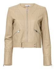 Sweep Collarless Leather Jacket, BEIGE, hi-res