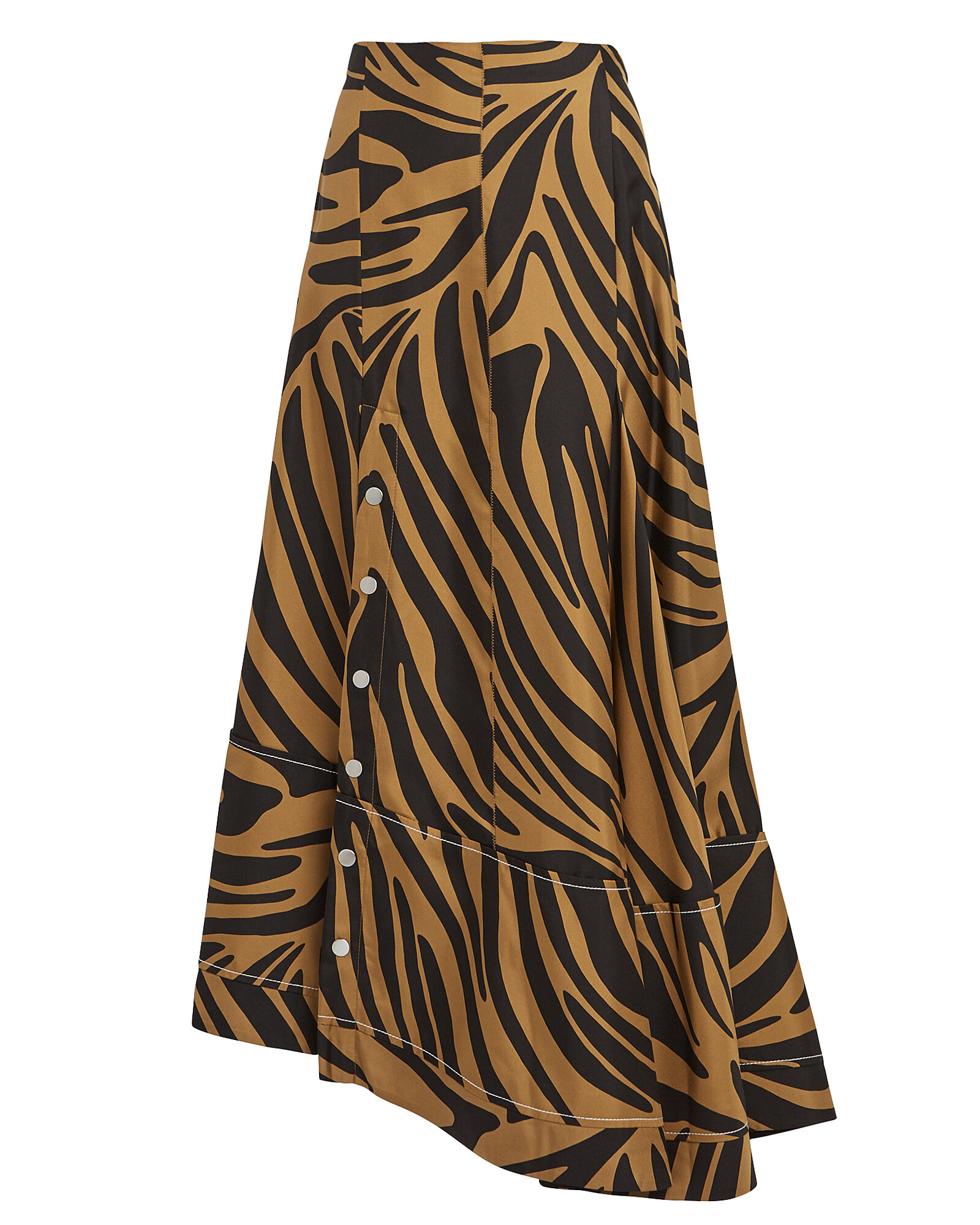 Zebra Print Snap Midi Skirt, MULTI, hi-res