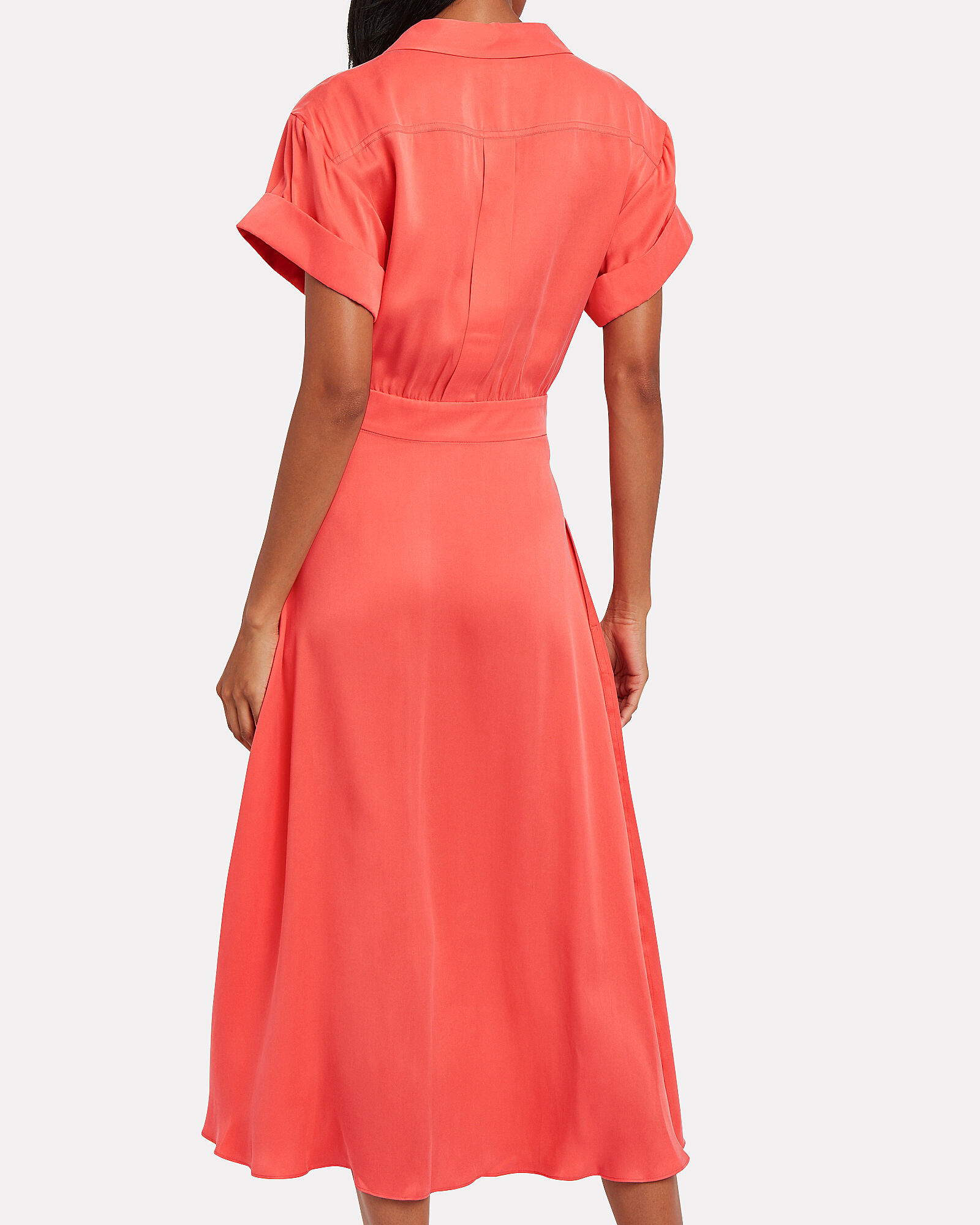 Orlenna Button Front Dress, CORAL, hi-res
