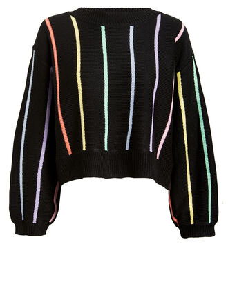 Hallie Rainbow Striped Sweater, BLACK/RAINBOW, hi-res