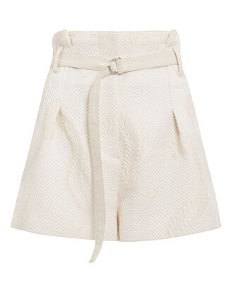 Cloque Belted Shorts, IVORY, hi-res