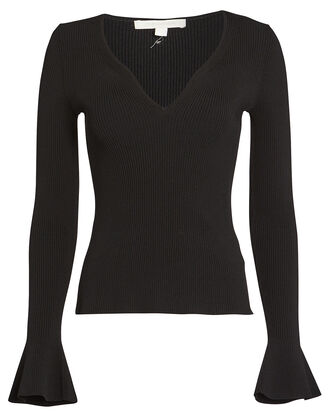 Compact Rib Knit V-Neck Top, BLACK, hi-res