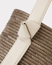 Taupe and Cream Straw Lunchpail, BROWN, hi-res