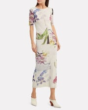 White Floral Mesh Maxi Dress, WHITE/FLORAL, hi-res