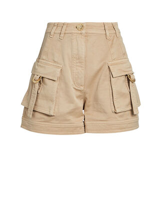Cotton Twill Cargo Shorts, BEIGE, hi-res