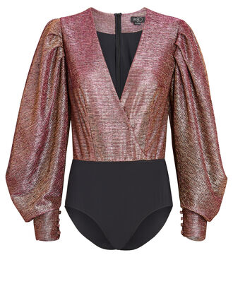 Metallic Balloon Sleeve Wrap Bodysuit, PINK, hi-res