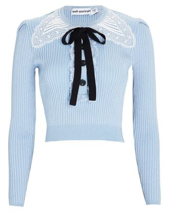 Lace-Trimmed Rib Knit Henley, BLUE, hi-res