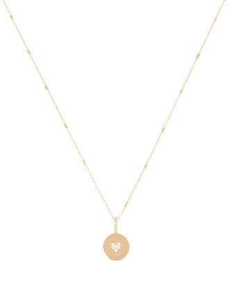 Itty Bitty Pavé Heart Charm Necklace, GOLD, hi-res