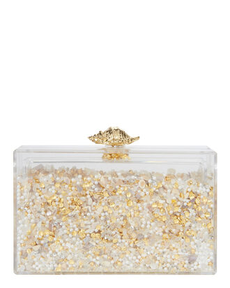 Shellshaker Sand Box Lucite Clutch, CLEAR, hi-res