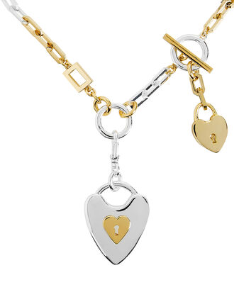 Folly Heart Lock Necklace, GOLD/SILVER, hi-res