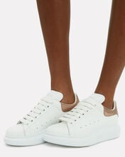 Oversized Leather Sneakers, WHITE/ROSE GOLD, hi-res